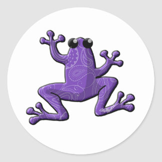 Periwinkle White Paisley Frog Classic Round Sticker
