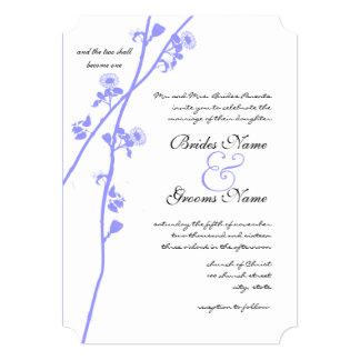 Periwinkle Wild Flower Branch Wedding Invitation
