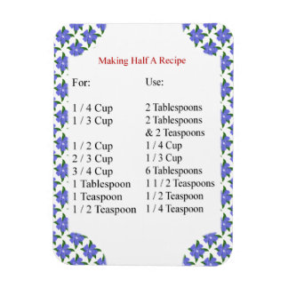 Periwinkles Baking Conversion Chart Photo Magnet