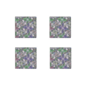 perky floral purple (I) Stone Magnet