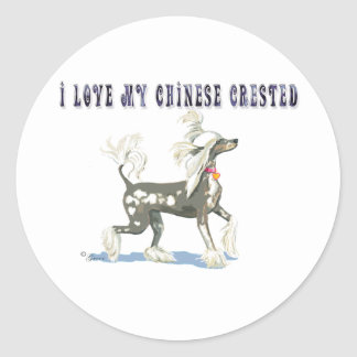 Perky Hairless Chinese Crested Gif... - Customized Classic Round Sticker