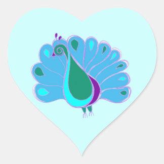 Perky Peacock Graphic Heart Sticker