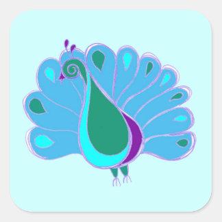 Perky Peacock Graphic Square Sticker