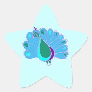 Perky Peacock Graphic Star Sticker