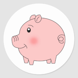 Perky Pig Classic Round Sticker