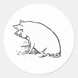 Perky Pig Sketch Design Classic Round Sticker