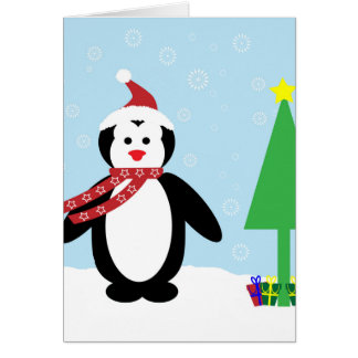 Perky Pretty Christmas Penguin (Customize It!) Card