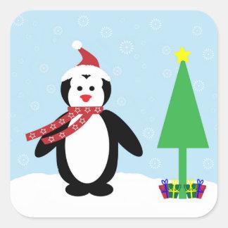 Perky Pretty Christmas Penguin (Customize It!) Square Sticker