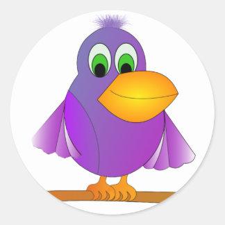 Perky Purple Bird Classic Round Sticker