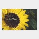 Perky Sunflower Bookplates Rectangular Sticker
