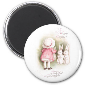 Perky White Easter Bunnies and Girl in Pink Dress 2 Inch Round Magnet