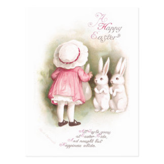 Perky White Easter Bunnies and Girl in Pink Dress Postcard