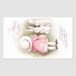 Perky White Easter Bunnies and Girl in Pink Dress Rectangular Sticker