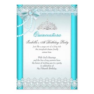 Perla 2 de princesa Quinceanera Teal Blue Lace
