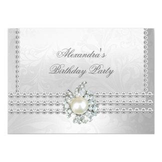 """Perla blanca del diamante de cumpleaños de la invitación 4.5"""" x 6.25"""""""
