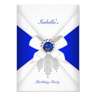 """Perla blanca del diamante del azul real de la invitación 4.5"""" x 6.25"""""""