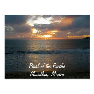 Perla de la puesta del sol pacífica de Mazatlan Tarjetas Postales