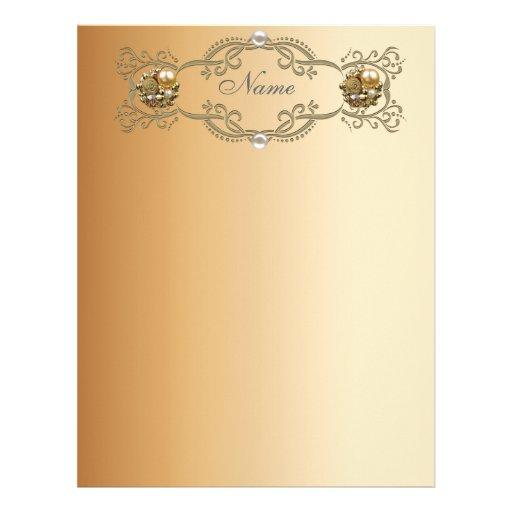 Perla del oro de papel del oro del papel con membr plantilla de membrete