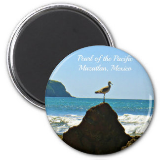 Perla del pájaro pacífico de Mazatlan México Imán Redondo 5 Cm