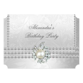 """Perla elegante cc del diamante de la plata de la invitación 5"""" x 7"""""""