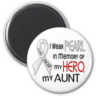 Perla en memoria de mi cáncer de la tía pulmón imán redondo 5 cm