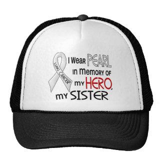Perla en memoria de mi cáncer de pulmón de la herm gorros