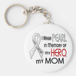 Perla en memoria de mi cáncer de pulmón de la mamá llaveros