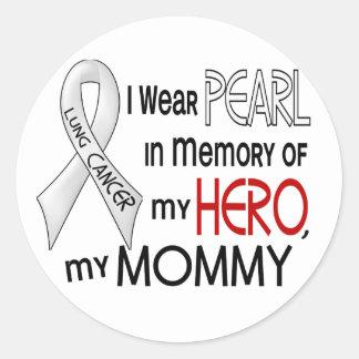 Perla en memoria de mi cáncer de pulmón de la mamá etiquetas redondas