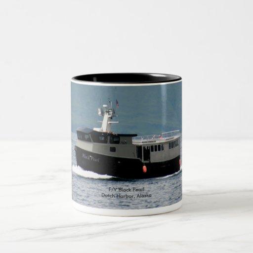 Perla negra, barco pesquero de Longlining Taza De Café
