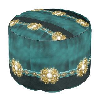 Perla negra del oro de las gemas jewlry puf redondo