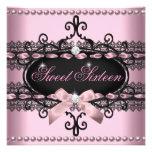 Perla negra rosada del cordón del dulce dieciséis  comunicados