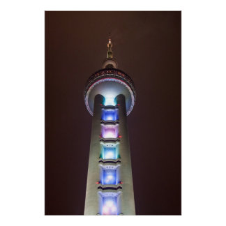 Perla oriental Shangai China en la noche Impresiones