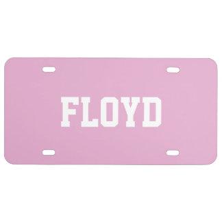 Perla rosada conocida de encargo placa de matrícula