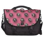 Perlas abstractas retras en fondo rosado bolsa de ordenador
