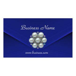 Perlas azules ricas del terciopelo del negocio de plantilla de tarjeta personal