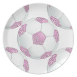 Perlas blancas en balón de fútbol rosado plato de cena