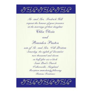 Perlas, de la invitación azul del boda del zafiro