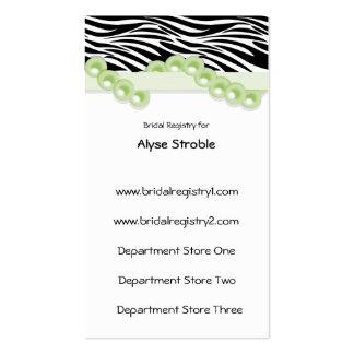 Perlas de la verde menta y tarjetas del registro d tarjeta de visita