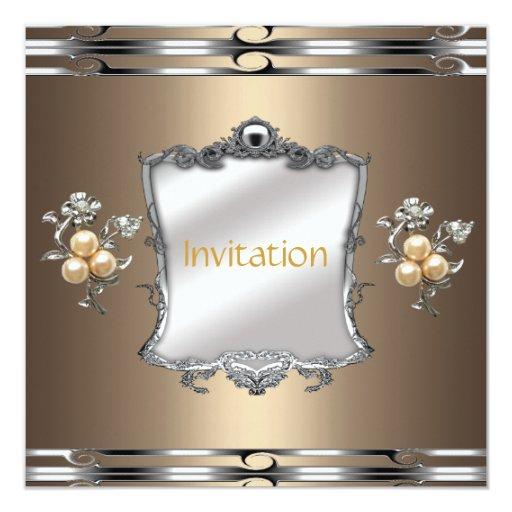 """Perlas de plata de bronce elegantes de la joya del invitación 5.25"""" x 5.25"""""""