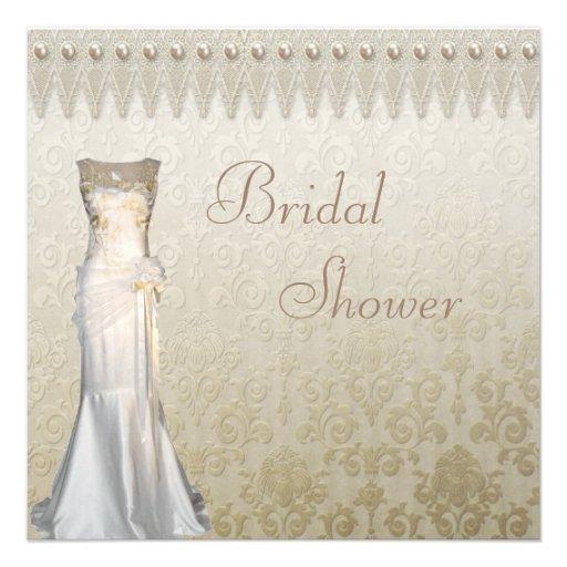 Perlas del vestido de boda del vintage y ducha comunicados personales
