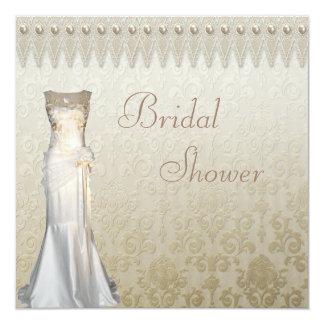 """Perlas del vestido de boda del vintage y ducha invitación 5.25"""" x 5.25"""""""