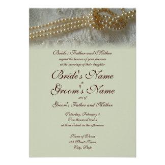 Perlas e invitación del boda del cordón formal