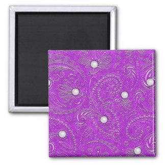 Perlas en remolinos púrpuras imán para frigorifico