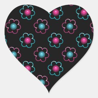 Perlas retras de la flor pegatina de corazon personalizadas