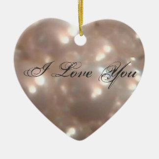 Perlas retras románticas de la antigüedad del adorno navideño de cerámica en forma de corazón