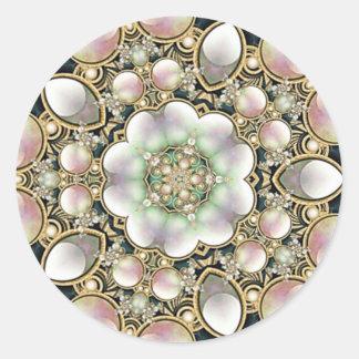 Perlas y caleidoscopio del oro etiqueta redonda
