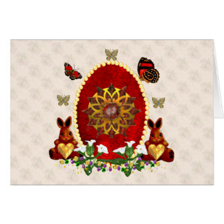 Perlas y conejitos tarjeta pequeña