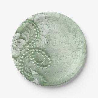 Perlas y cordón que casan la verde menta del | plato de papel de 7 pulgadas