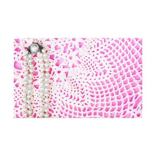 Perlas y cordón rosados impresion de lienzo