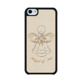 Perlas y oro - ángel metálico del navidad de la funda de iPhone 5C slim arce